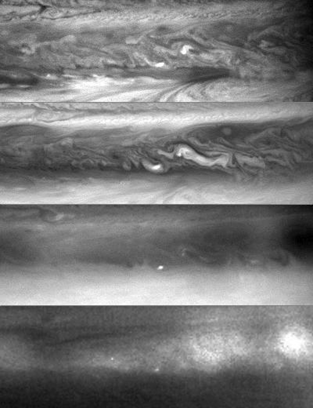 A four-panel frame shows a section of Jupiter's north equatorial belt viewed by NASA's Cassini spacecraft at four different wavelengths, and a separate reference frame shows the location of the belt on the planet.