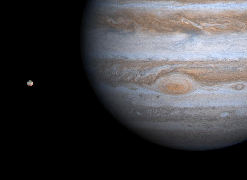 This image taken by NASA's Cassini spacecraft on Dec. 1, 2000, shows details of Jupiter's Great Red Spot and other features that were not visible in images taken earlier, when Cassini was farther from Jupiter.