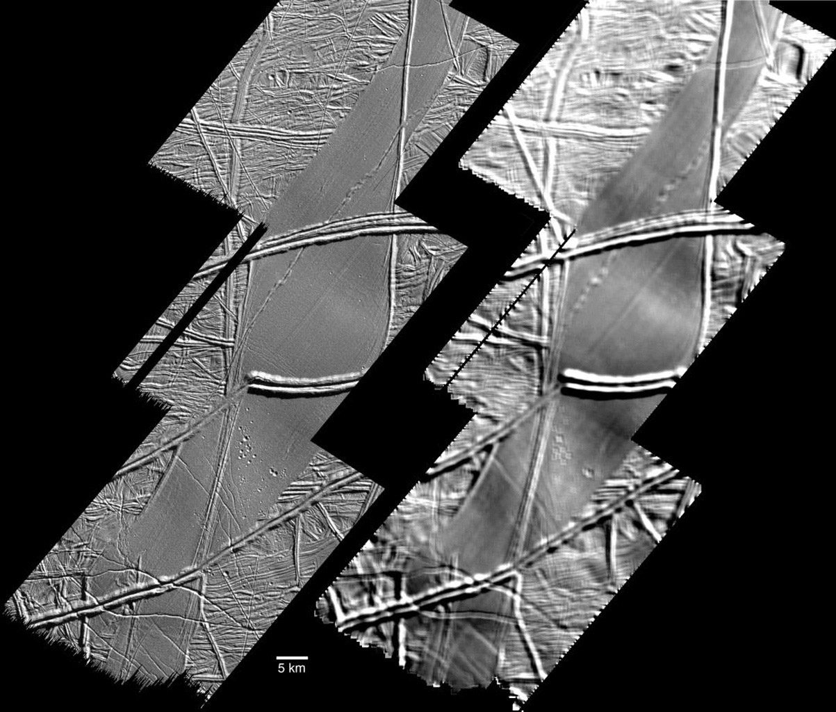 This image, acquired by NASA's Galileo spacecraft on September 26, 1998, shows features on the surface of Jupiter's moon Europa that a scientific report published today interprets as signs of compressive folding.