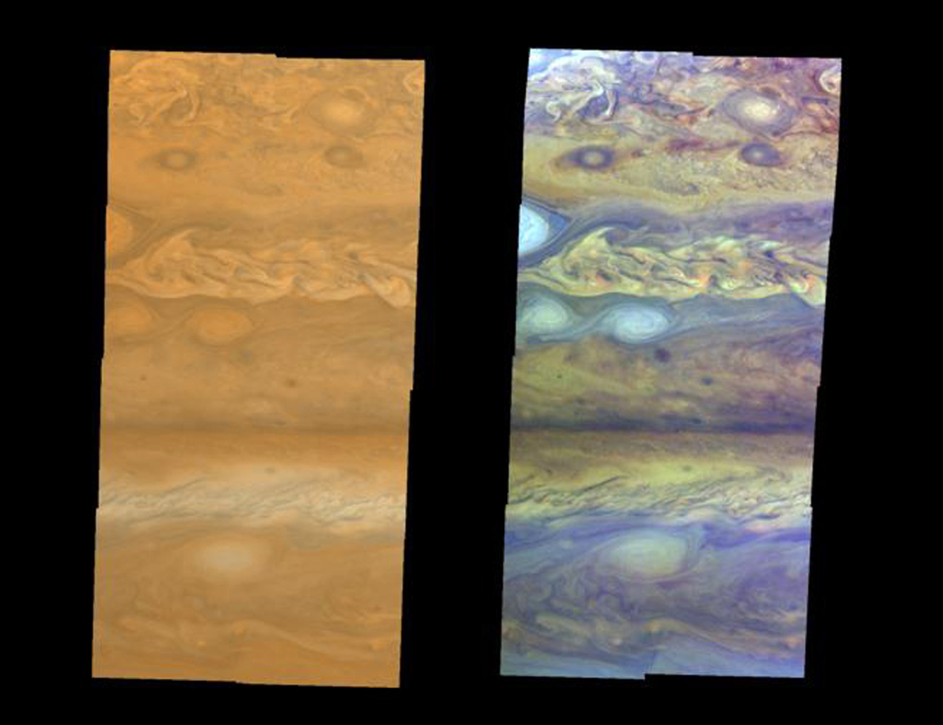 True-color (left) and false-color (right) mosaics of Jupiter's northern hemisphere between 10 and 50 degrees latitude. This image was taken by NASA's Galileo spacecraft on April 3, 1997 at a distance of 1.4 million kilometers.