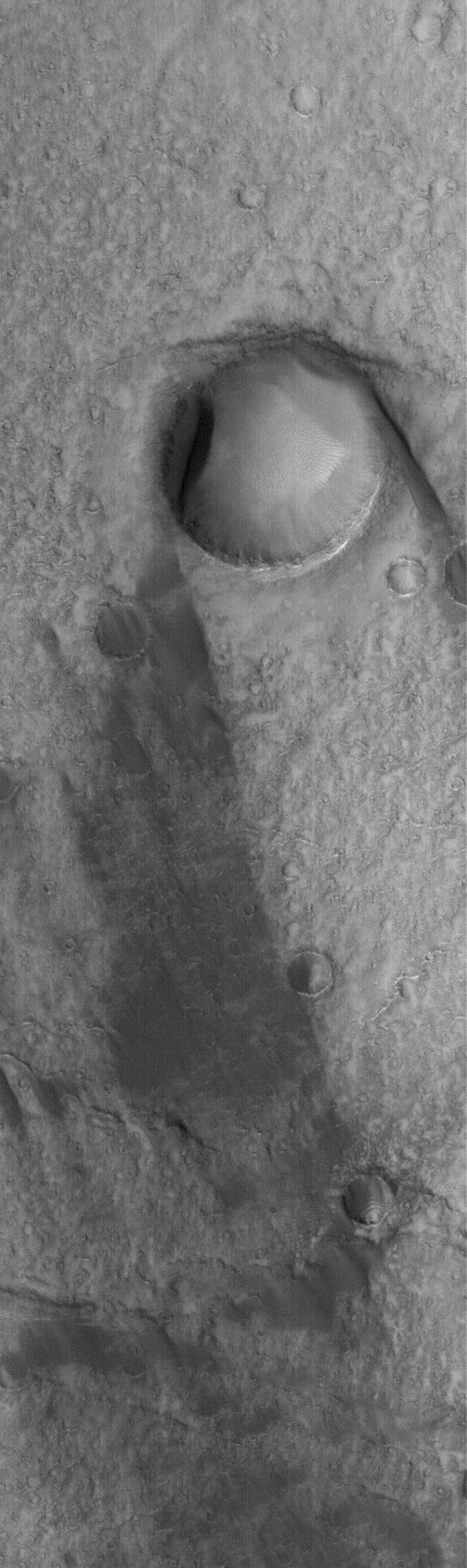 NASA's Mars Global Surveyor shows the results of wind action on the floor of the giant martian impact basin, Huygens. The large crater in this image has a wind streak on its lee side.