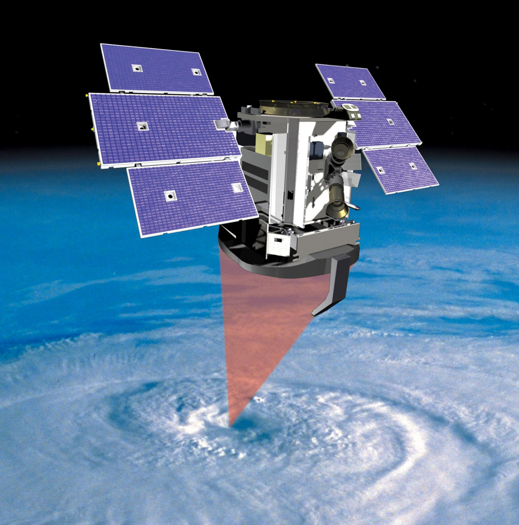 This artist's concept shows NASA's CloudSat spacecraft and its Cloud Profiling Radar using microwave energy to observe cloud particles and determine the mass of water and ice within clouds.