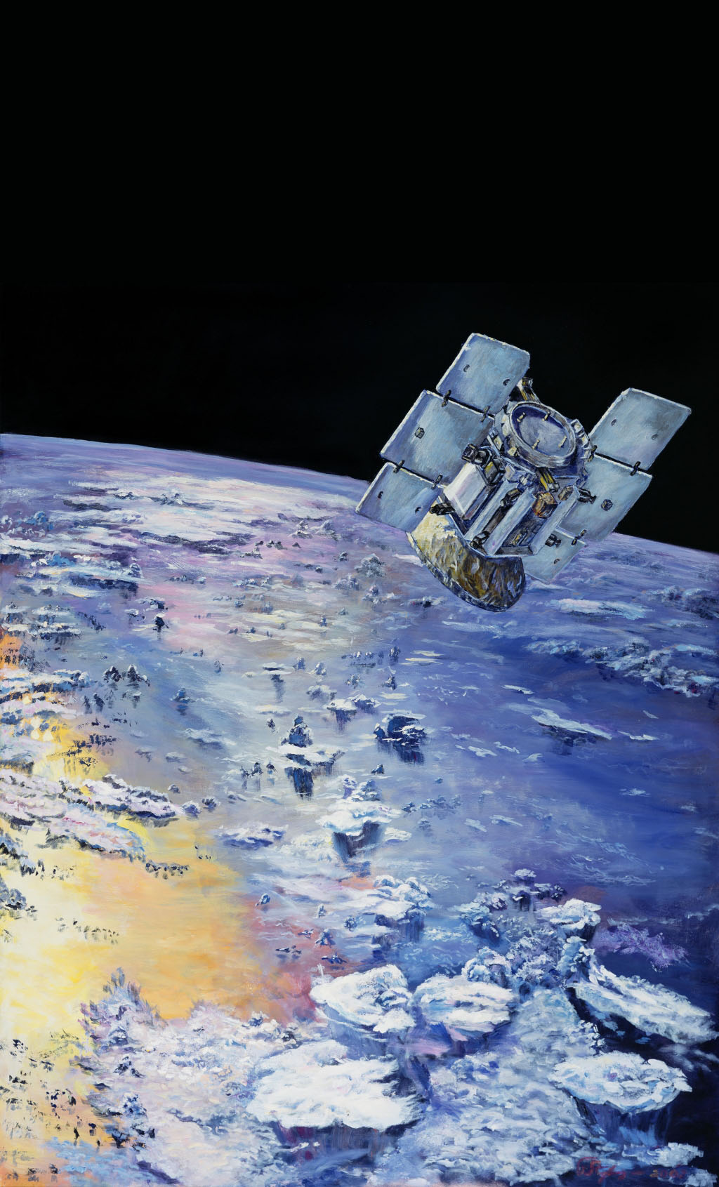 This is an artist's concept depicting NASA's CloudSat in orbit around Earth.