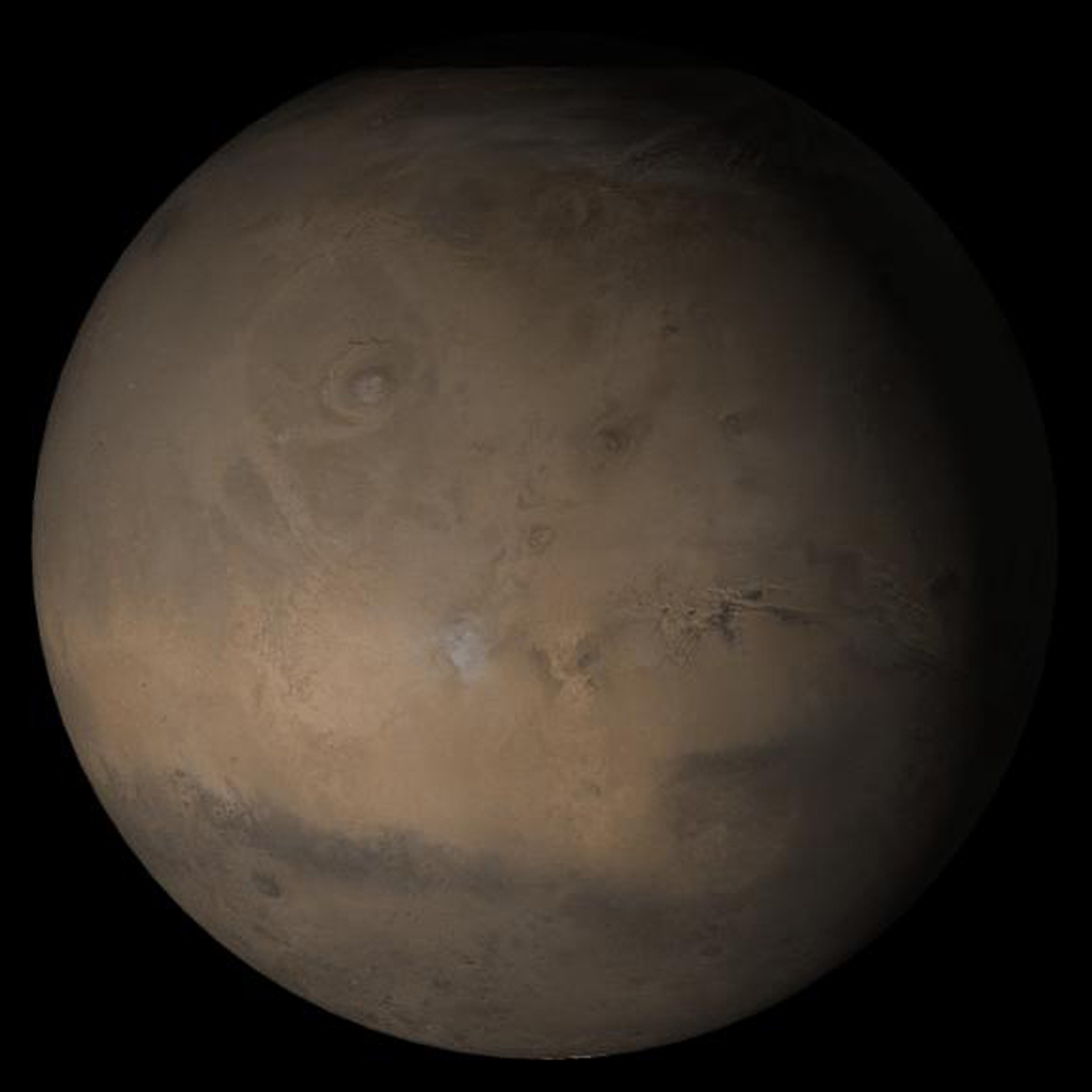 NASA's Mars Global Surveyor shows the Tharsis face of Mars in mid-October 2005.