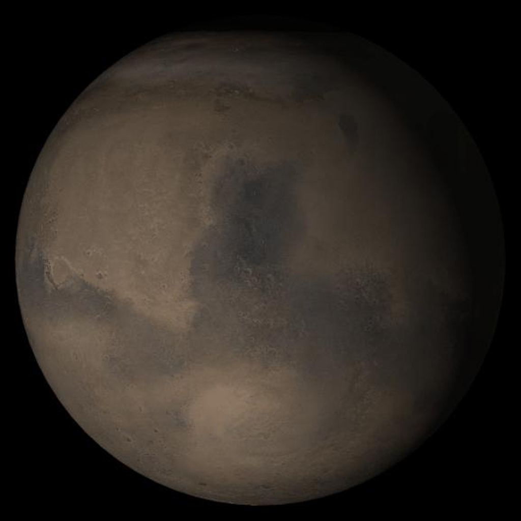 NASA's Mars Global Surveyor shows the Syrtis Major face of Mars in mid-October 2005.
