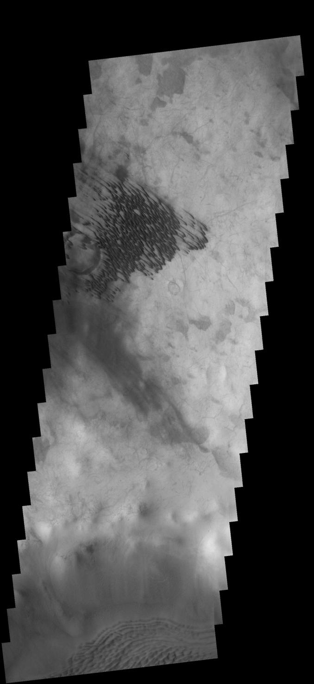 These dunes are located on the floor of an unnamed crater SE of Campbell Crater on Mars as seen by NASA's 2001 Mars Odyssey spacecraft.