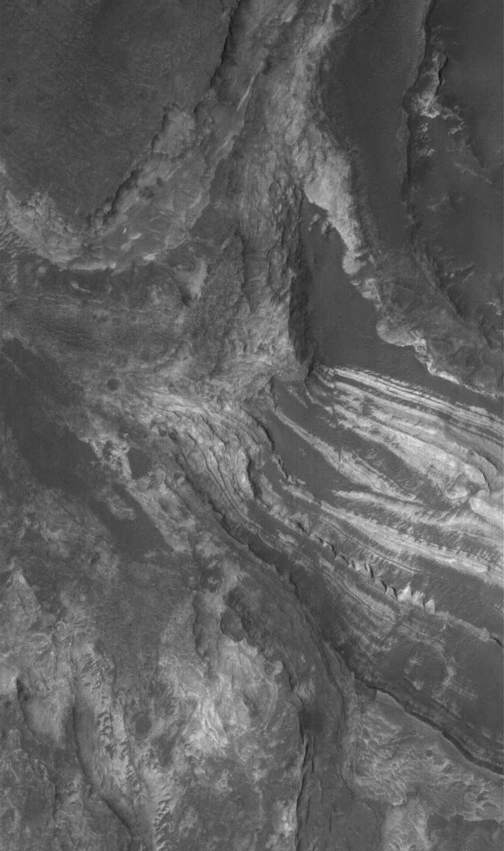 NASA's Mars Global Surveyor shows  light-toned, layered, sedimentary rock exposures in Terby Crater, just north of Hellas Planitia on Mars. These rocks might have formed from sediment deposited in a lake or a larger Hellas-filling sea.