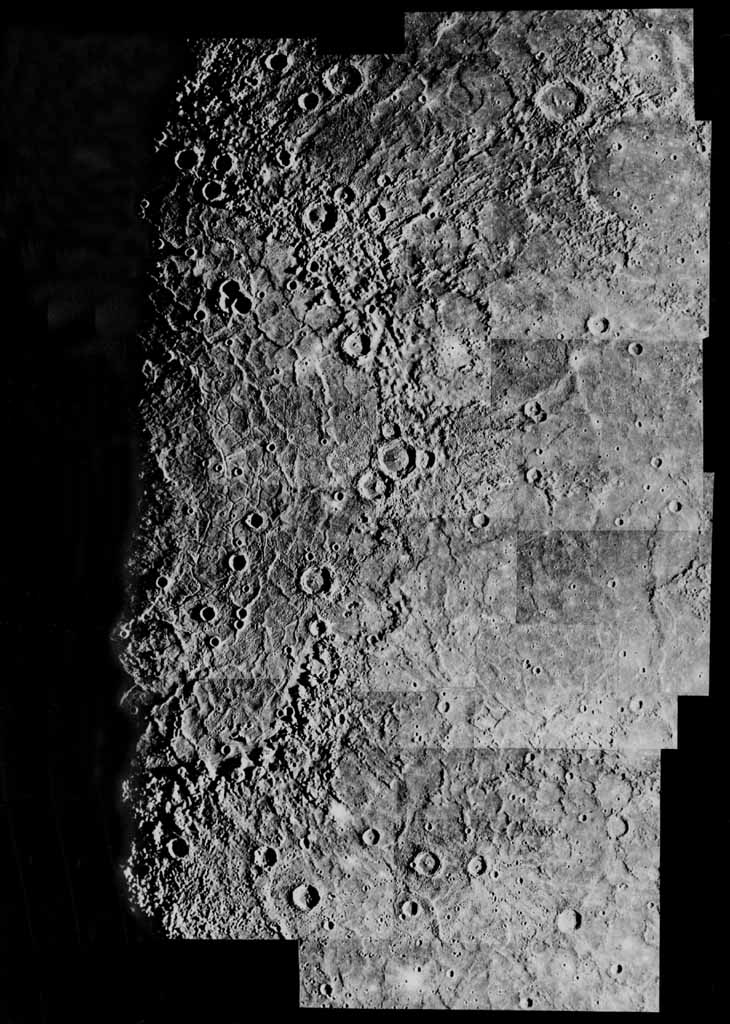 This computer photomosaic is of the Caloris Basin, the largest basin on Mercury. NASA's Mariner 10 spacecraft imaged the region during its initial flyby of the planet after its launch in 1974.