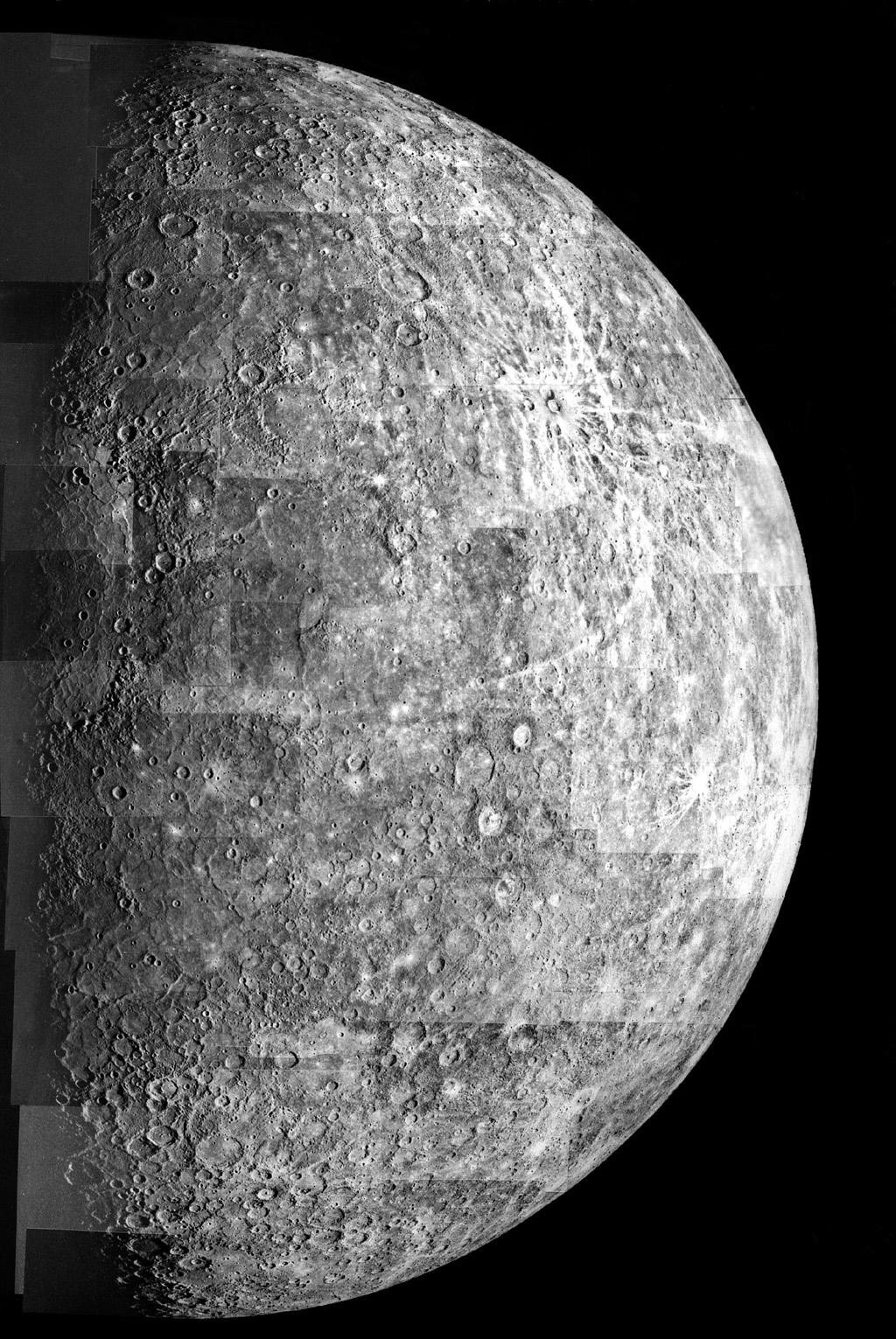 After passing on the darkside of the planet, NASA's Mariner 10 photographed the other, somewhat more illuminated hemisphere of Mercury. The north pole is at the top, two-thirds down from which is the equator.