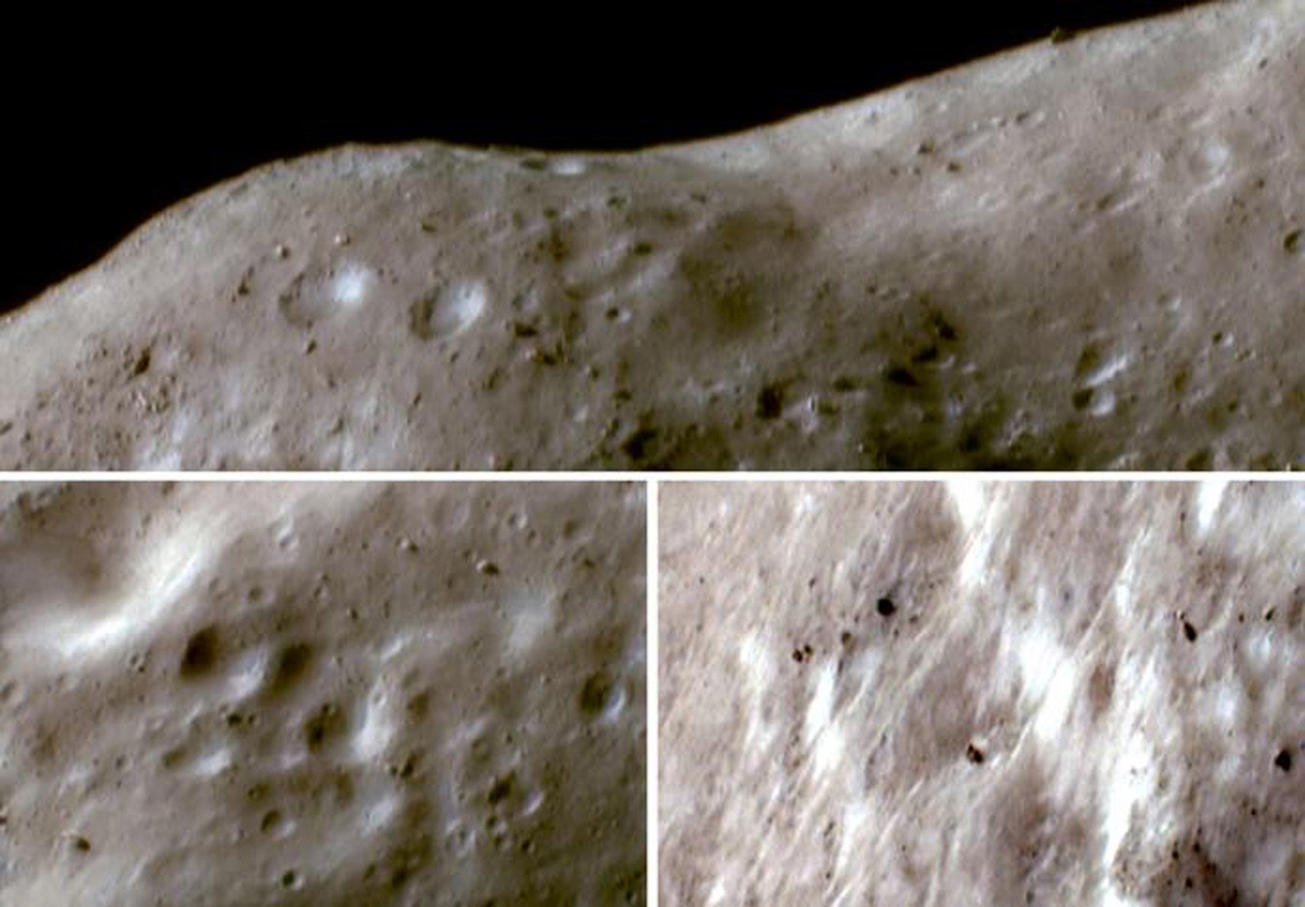These images of asteroid Eros, taken by NASA's NEAR Shoemaker on Oct. 16, 2001, show surface materials darkened and reddened by solar wind and micrometeorite impacts appearing pale brown; fresher materials on steep slopes appear in bright whites or blues.