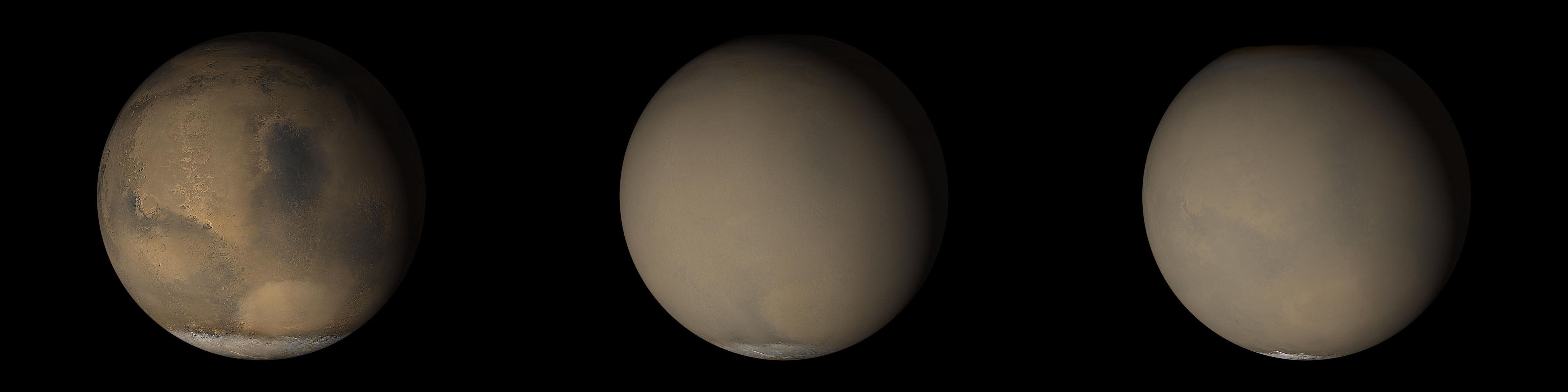NASA's Mars Global Surveyor shows that although dust storms occur year-round on Mars,  they often occur in greater numbers during certain seasons.