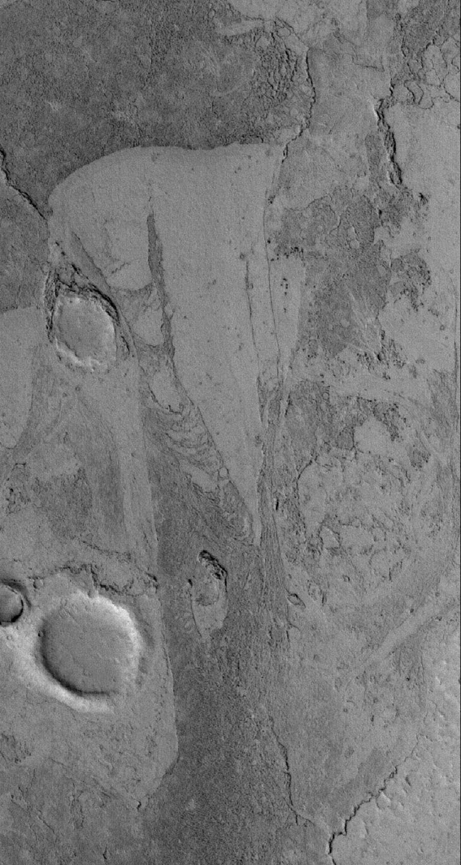 NASA's Mars Global Surveyor shows the solidified remains of flows, probably lava, but possibly mud, in the Zephyria region of Mars, south of Cerberus.