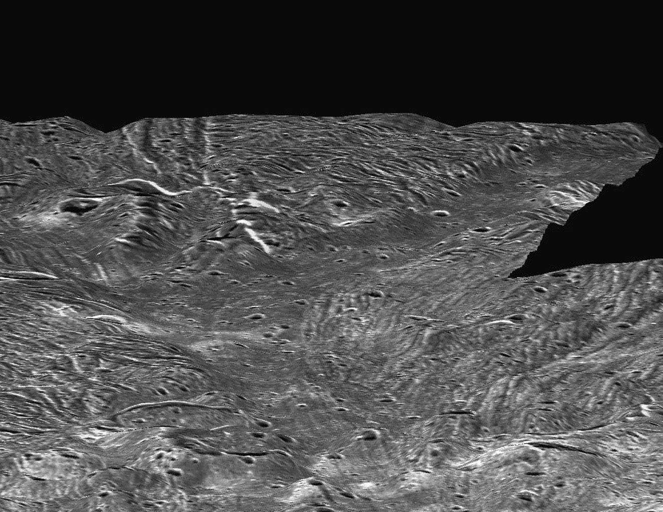 This perspective view, simulating a low altitude flight over the surface of Ganymede, was made possible by topographic analysis of stereo images of the Sippar Sulcus region. Such a view was made possible when NASA's Galileo spacecraft passed Ganymede.