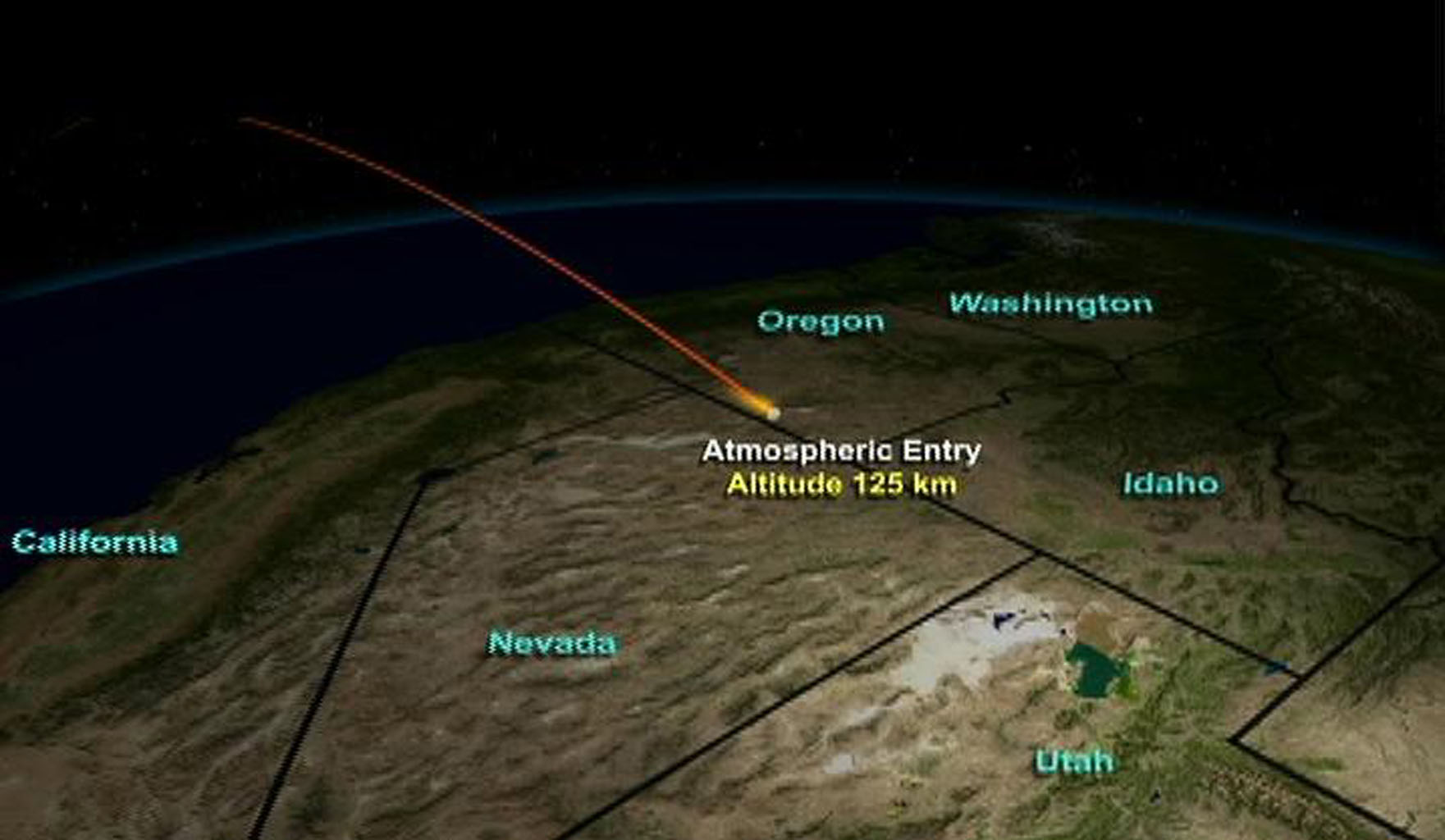 This animation illustrates the path the Stardust return capsule will follow once it enters Earth's atmosphere.