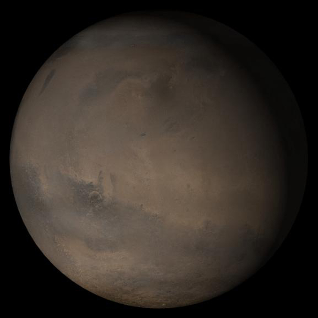 NASA's Mars Global Surveyor shows the Elysium/Mare Cimmerium face of Mars in mid-December 2005.