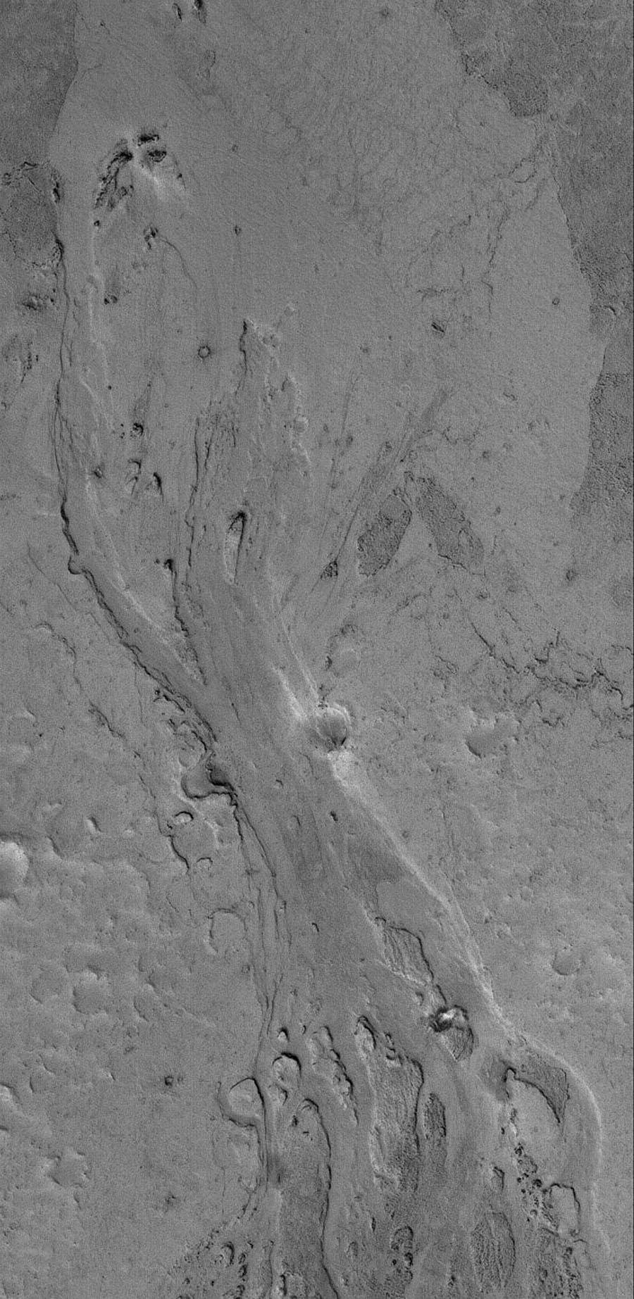 NASA's Mars Global Surveyor shows a portion of a shallow channel carved in the plains of the Zephyria region of Mars. This feature might be the result of the passing of either extremely fluid lava or, perhaps, mud.