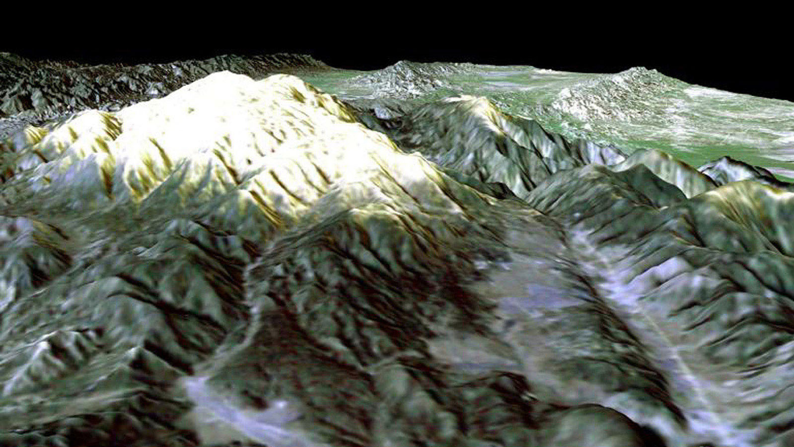 Prominently displayed in this image from NASA's Shuttle Radar Topography Mission, is Mt. Pinos, California, at 2,692 meters (8,831 feet) it is the highest peak in the Los Padres National Forest.
