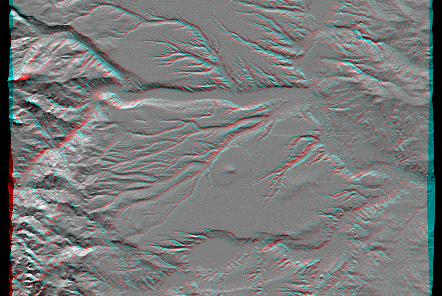 This anaglyph, from NASA's Shuttle Radar Topography Mission, shows the eastern flank of the Andes Mountains, southeast of San Martin de Los Andes, Argentina. 3D glasses are necessary to view this image.