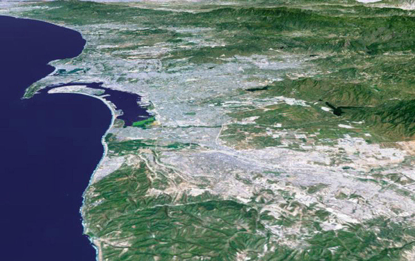 The influence of topography on the growth of the city of San Diego, California is seen clearly in this computer-generated perspective viewed by from NASA's Shuttle Radar Topography Mission.