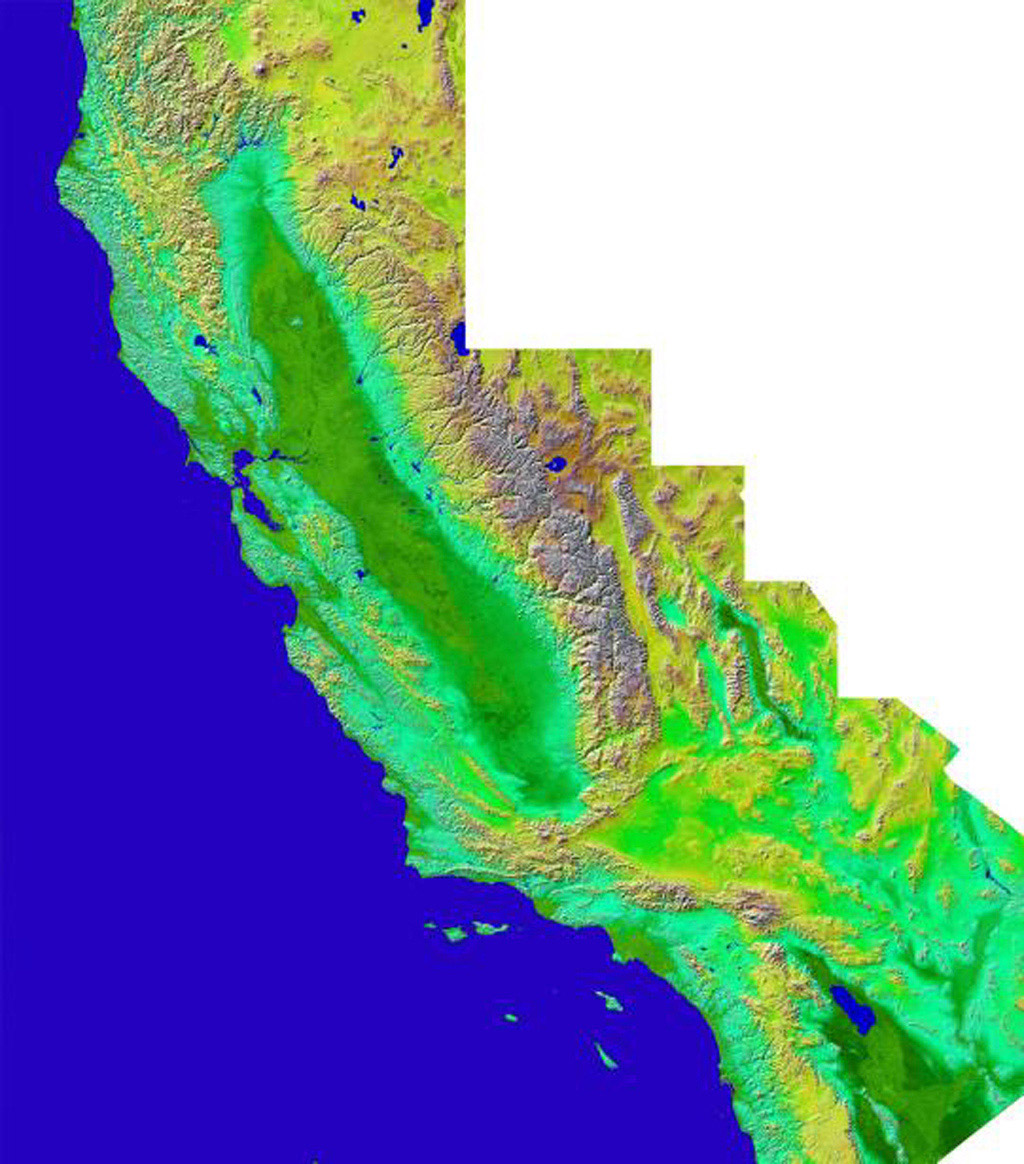The diversity of landforms that make up the state of California is evident in this rendition of the 3-D topography of the state from NASA's Shuttle Radar Topography Mission.