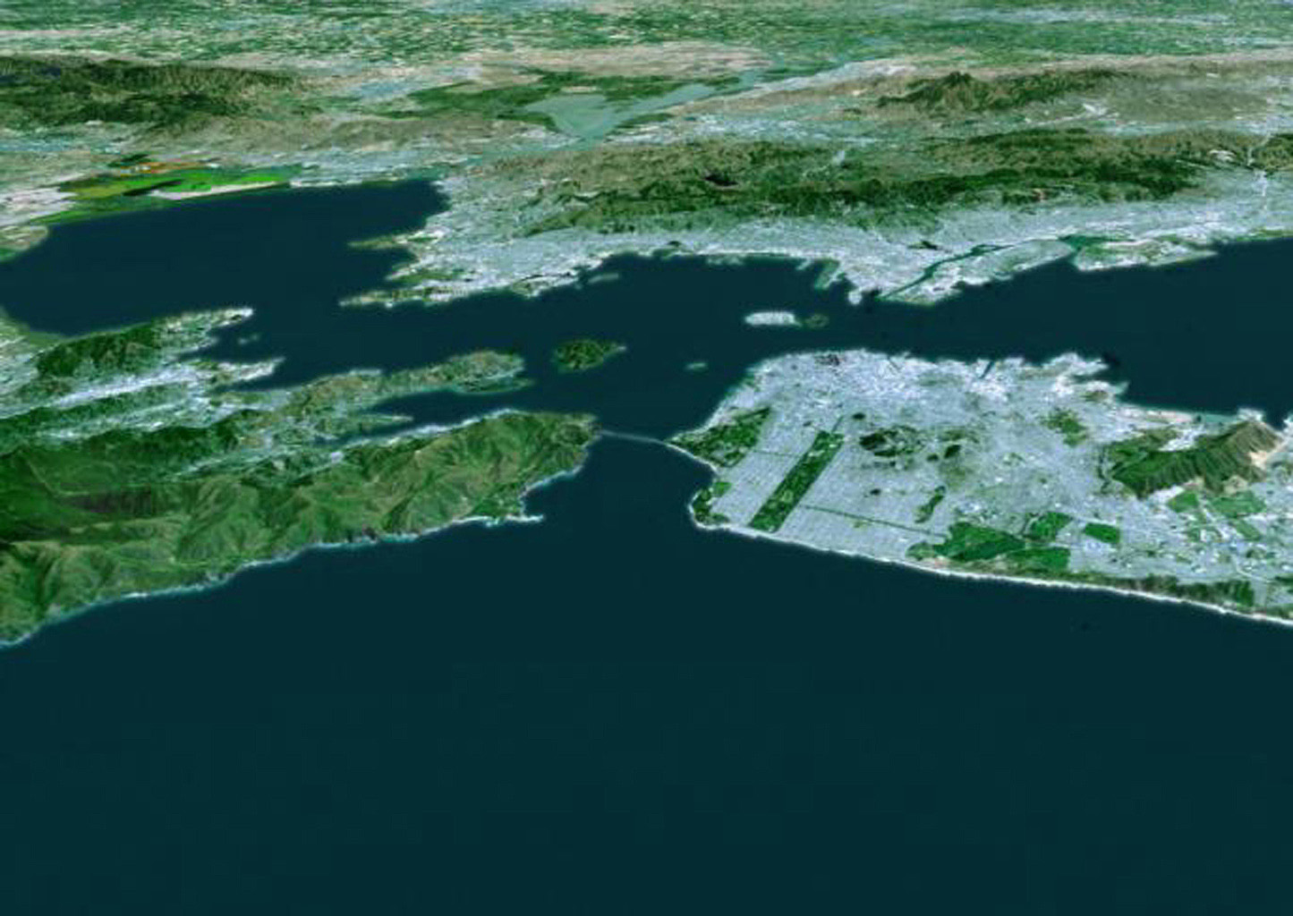 The cities of San Francisco and the East Bay, California are highlighted in this computer-generated perspective viewed from west of the Golden Gate by from NASA's Shuttle Radar Topography Mission.