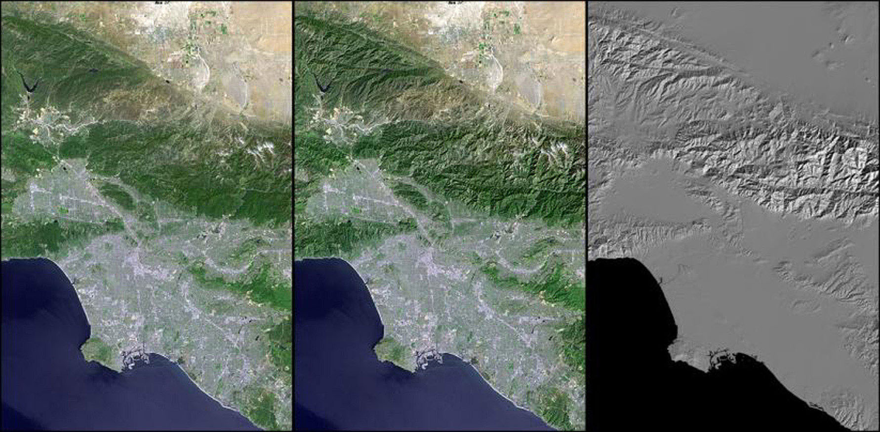 Digital elevation models (DEMs), such as those produced by NASA's Shuttle Radar Topography Mission, allow user-controlled visualization of the Earth's landforms that is not possible using satellite imagery alone.