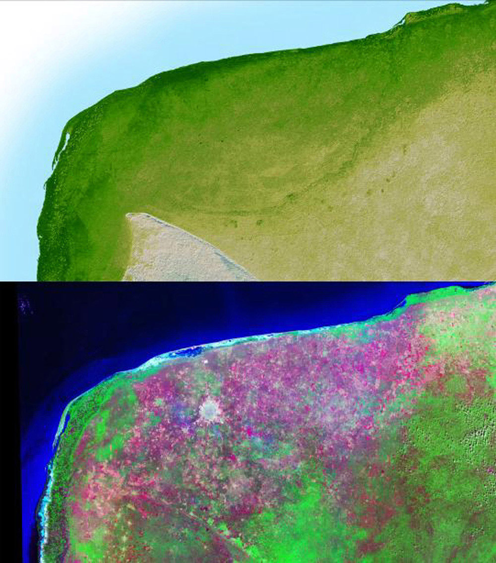 The top picture is a shaded relief image of the northwest corner of Mexico's Yucatan Peninsula generated from NASA's Shuttle Radar Topography Mission data, and shows a subtle, but unmistakable, indication of the Chicxulub impact crater.