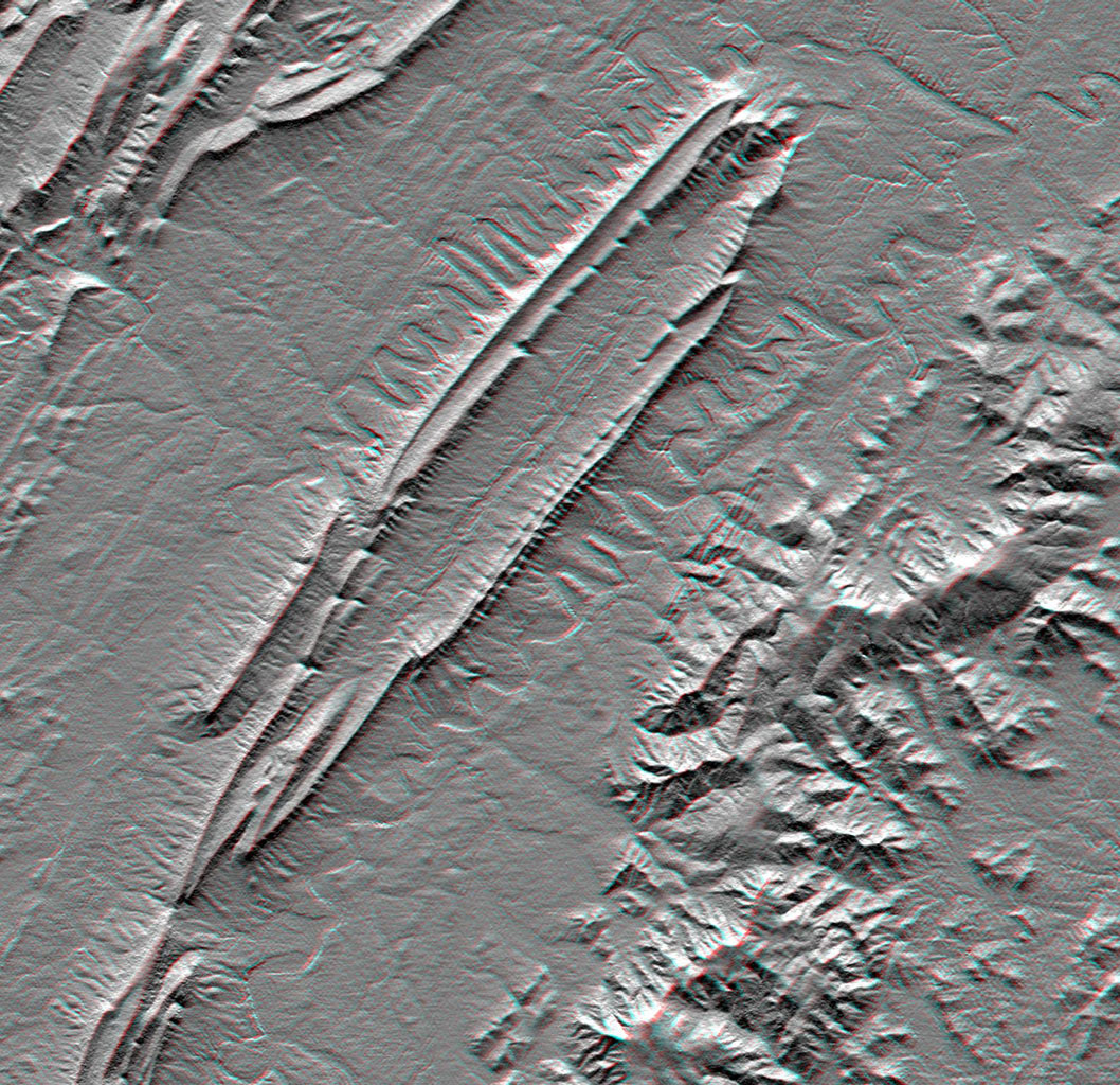 This anaglyph, from NASA's Shuttle Radar Topography Mission, is of Massanutten Mountain in the Shenandoah Valley of northern Virginia. 3D glasses are necessary to view this image.
