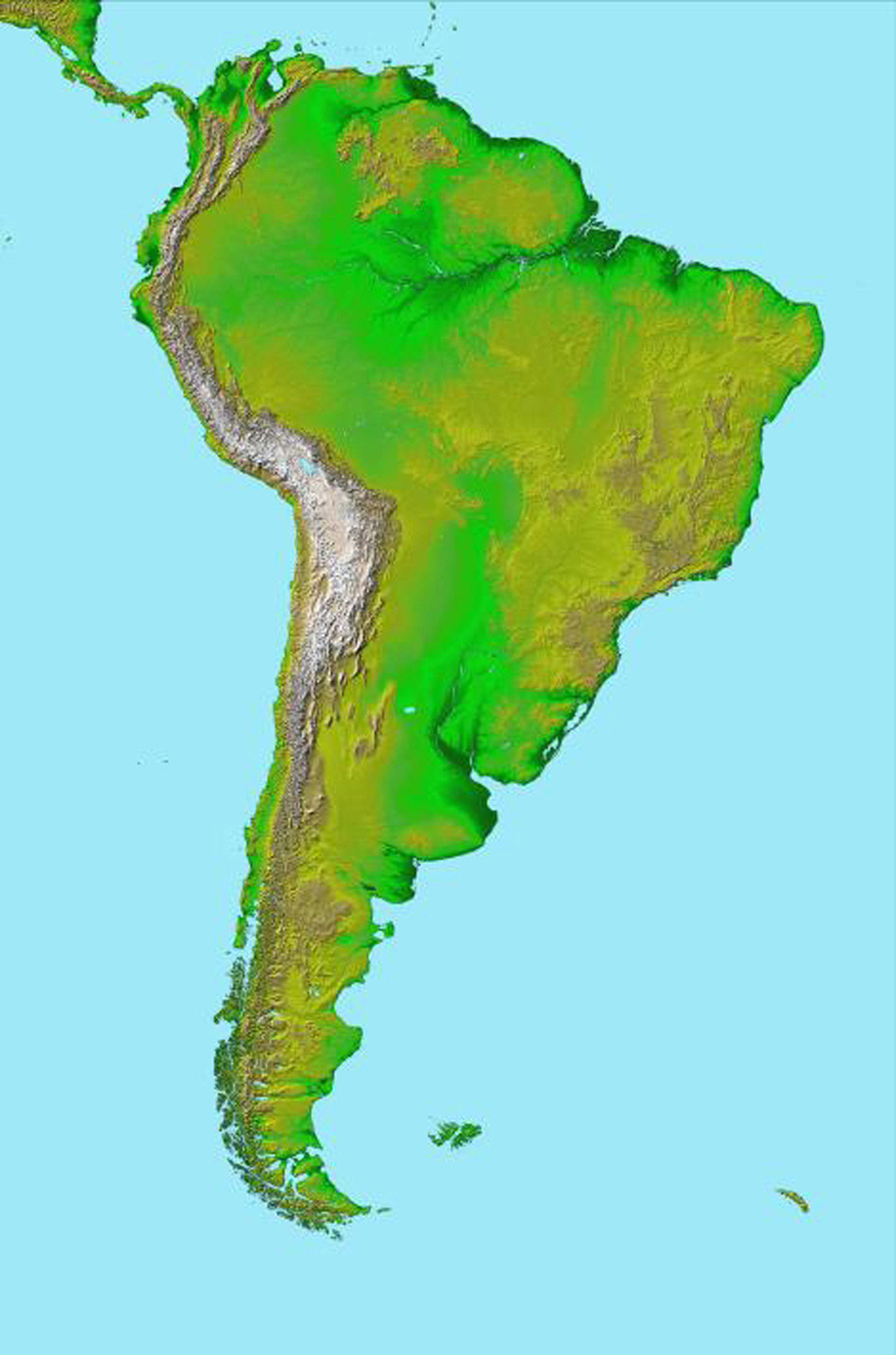 Image of: Space Images South America Shaded Relief And Colored Height