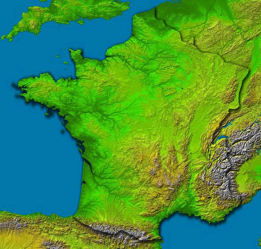 This image of France was generated with data from NASA's Shuttle Radar Topography Mission.