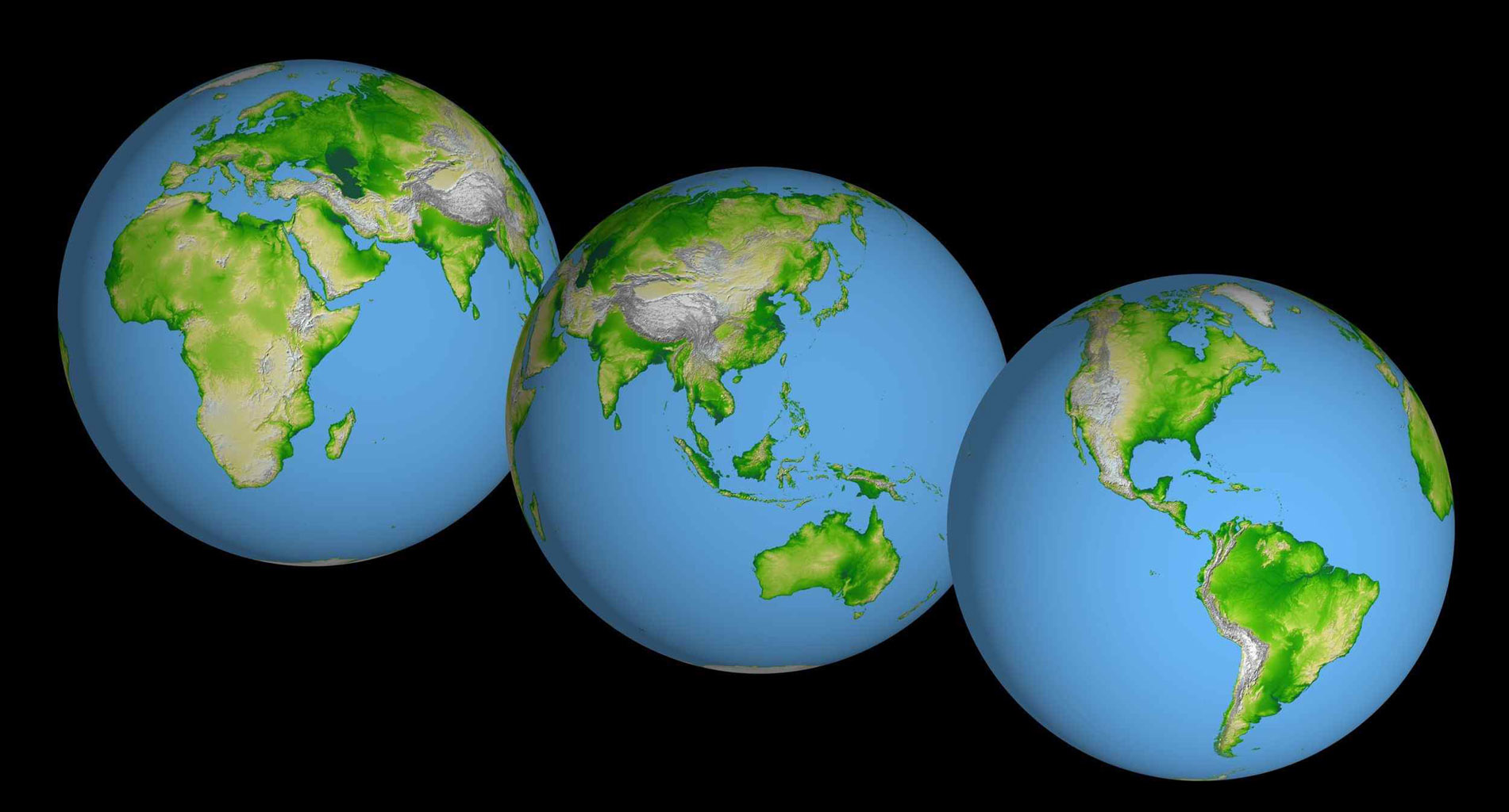 These images of the world were generated with data from the Shuttle Radar Topography Mission (SRTM). Two visualization methods were combined to produce the image: shading and color coding of topographic height.