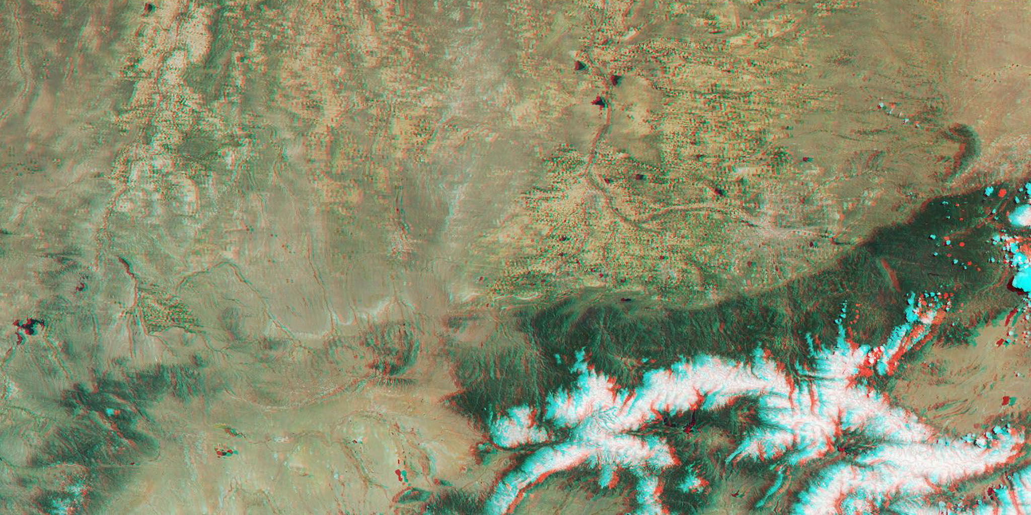 This anaglyph from the MISR instrument aboard NASA's Terra spacecraft include portions of southern Wyoming, central Colorado, and western Nebraska. 3D glasses are necessary to view this image.