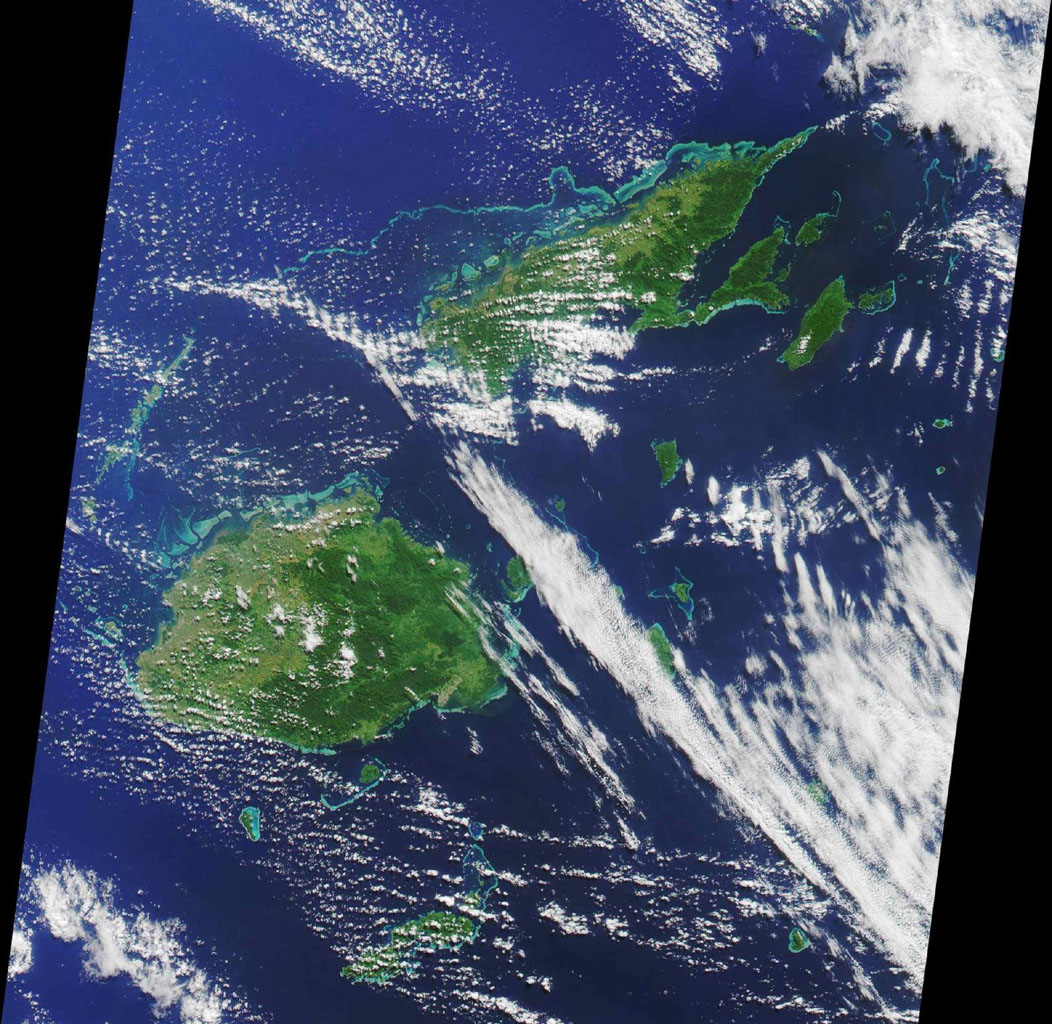 The pictured archipelago is the Republic of Fiji. This image from NASA's Terra satellite is MISR Mystery Image Quiz #1.