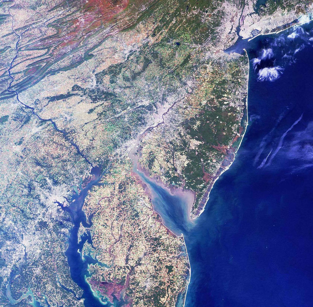 Philadelphia lies in the center of this image from NASA's Terra satellite. Larger cities, including New York, Newark, Philadelphia, Wilmington, Baltimore and Washington D.C., are visible from upper right to lower left.