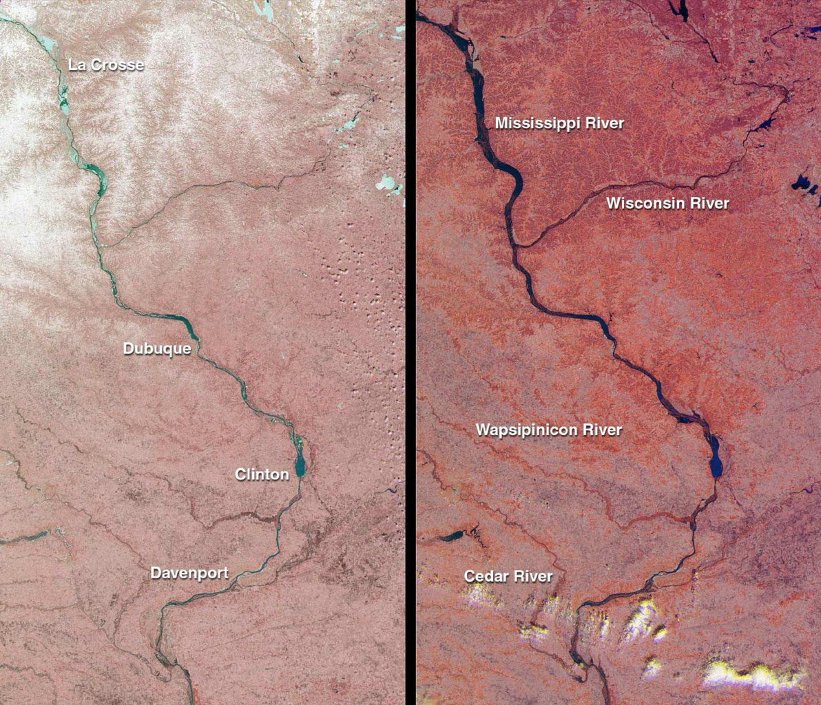 The mighty Mississippi River, from its source at Lake Itasca, Minnesota to the Gulf of Mexico, is approximately 3780 kilometers long and has flooded many times during its history. NASA's Terra satellite acquired these images one month apart in 2001.