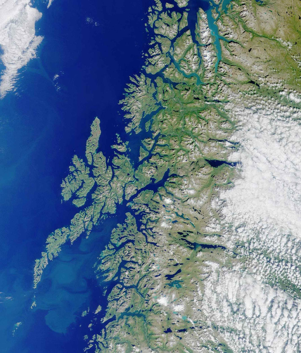 Lofoten Islands, Norway. Norway is deeply indented by fjords, rises precipitously to high plateaus, and is united with the ocean by numerous islands. This image from NASA's Terra satellite is MISR Mystery Image Quiz #2.