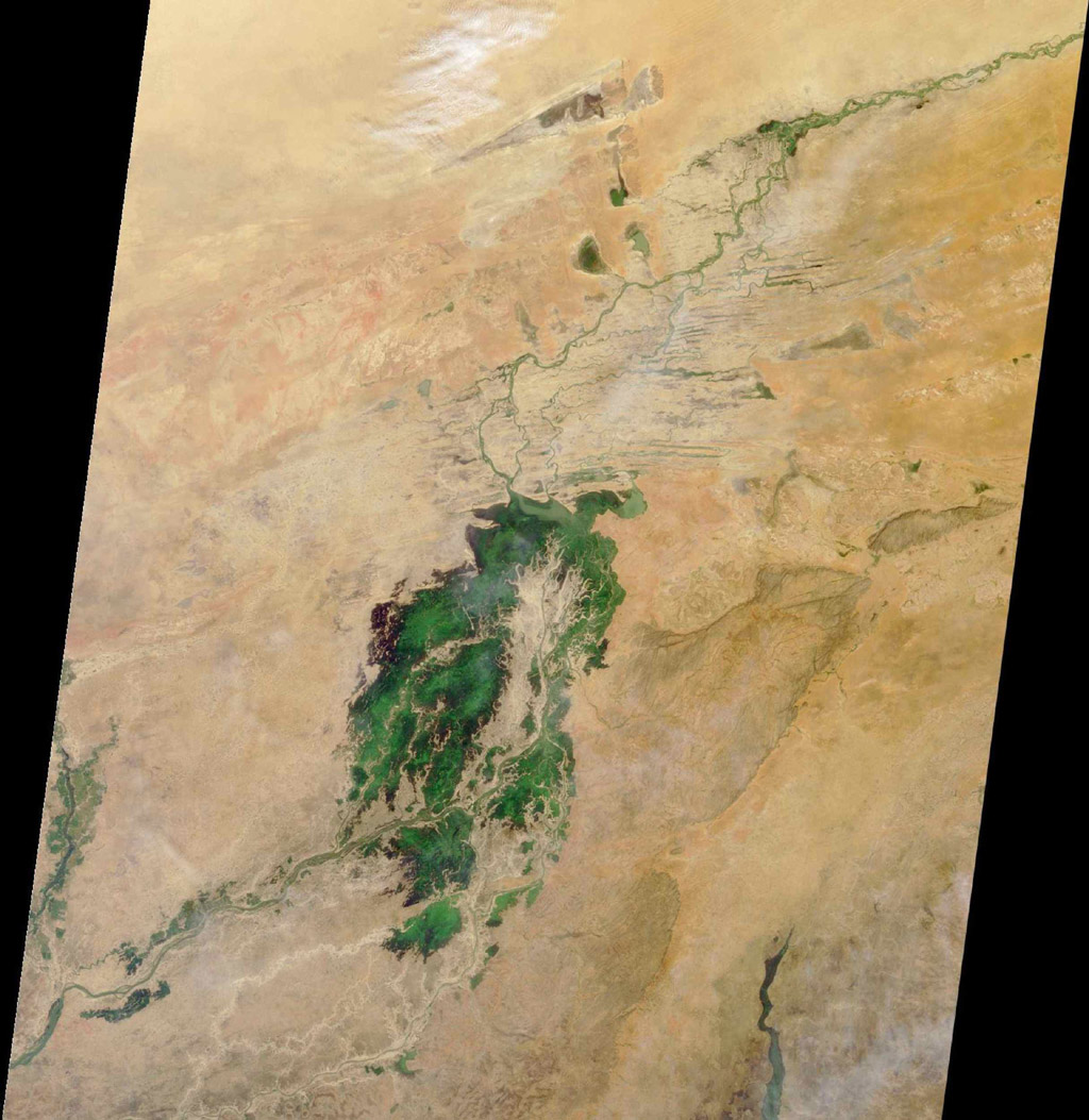 The third largest river in Africa, the Niger, forms an inland delta in central Mali. This image is from NASA's Terra satellite is MISR Mystery Image Quiz #3.