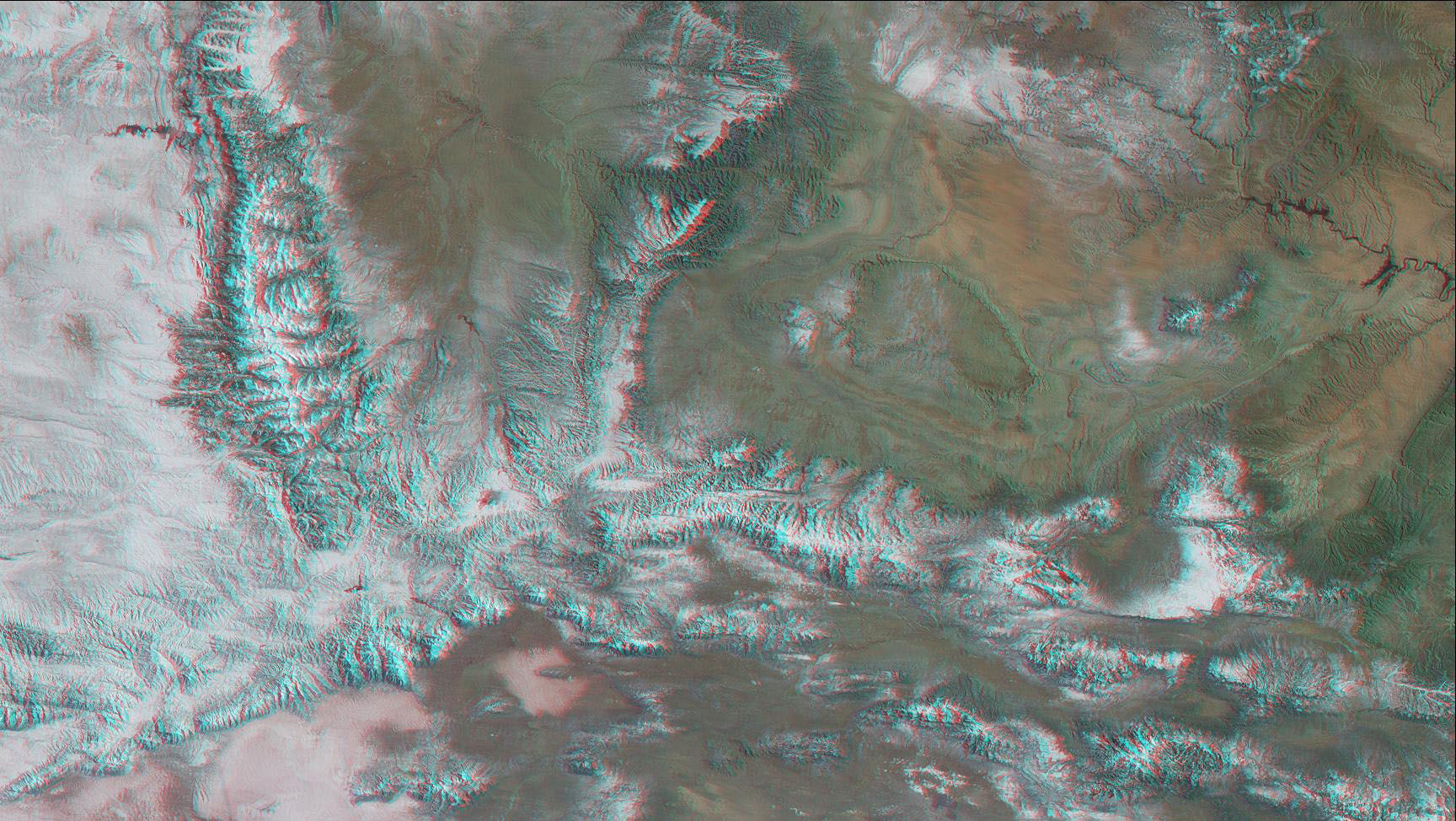 This anaglyph from the MISR instrument aboard NASA's Terra spacecraft shows the peaks of the Wasatch and Uinta Ranges in Utah. 3D glasses are necessary to view this image.