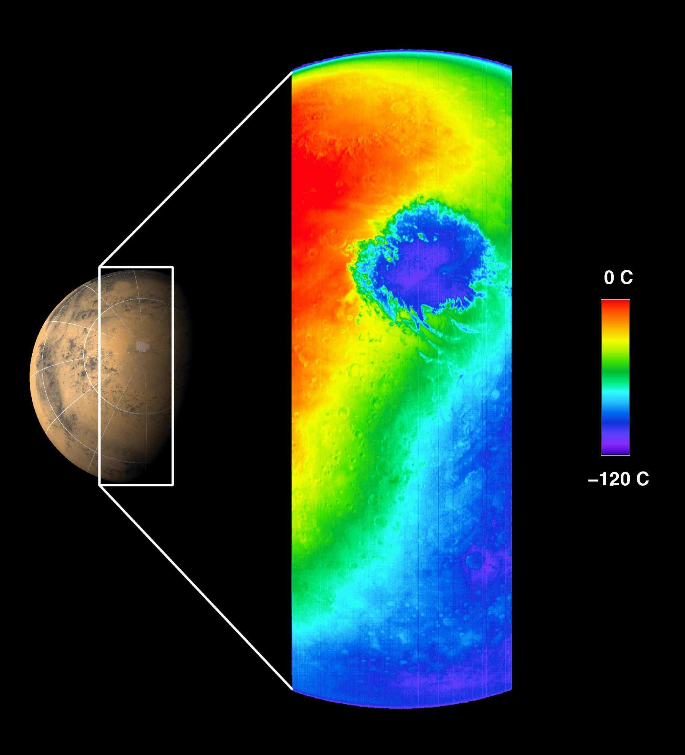 This thermal infrared image was acquired by NASA's Mars Odyssey spacecraft on October 30, 2001, as the spacecraft orbited Mars on its ninth revolution around the planet.