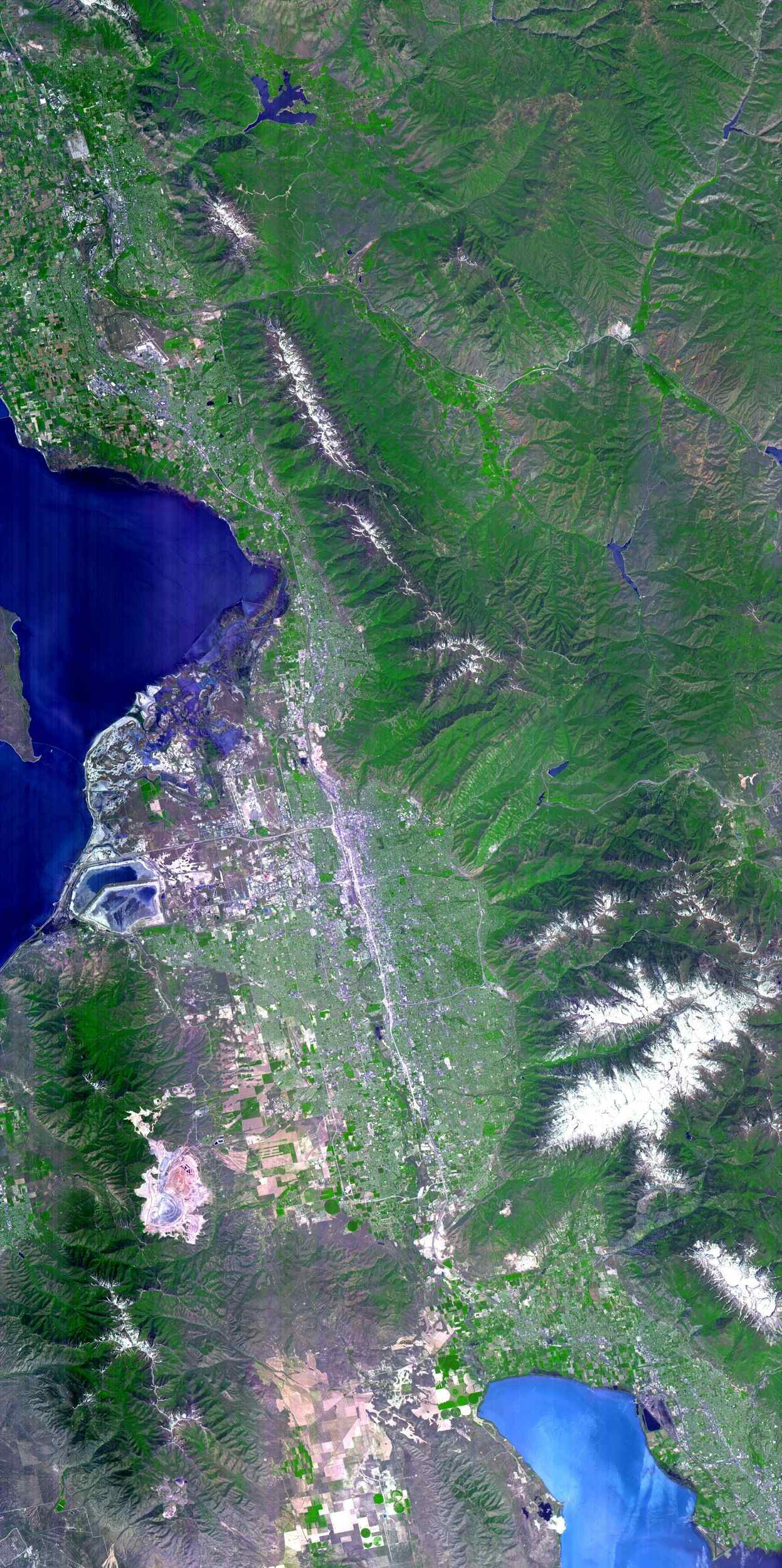 The 2002 Winter Olympics were hosted by Salt Lake City at several venues within the city, in nearby cities, and within the adjacent Wasatch Mountains. NASA's Terra satellite captured this image on May 28, 2000.