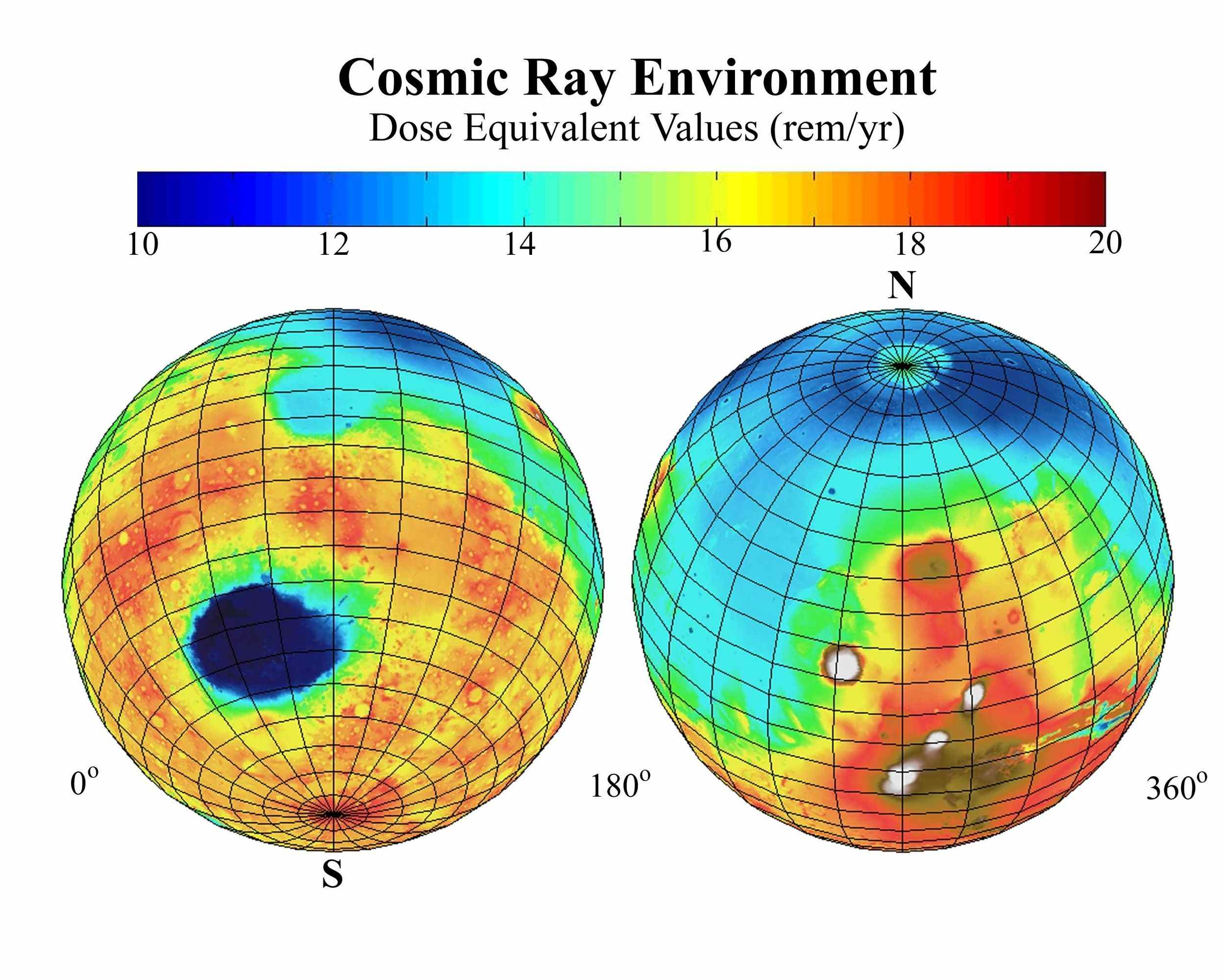 This global map of Mars, based on data from NASA's Mars Odyssey, shows the estimated radiation dosages from cosmic rays reaching the surface, a serious health concern for any future human exploration of the planet.