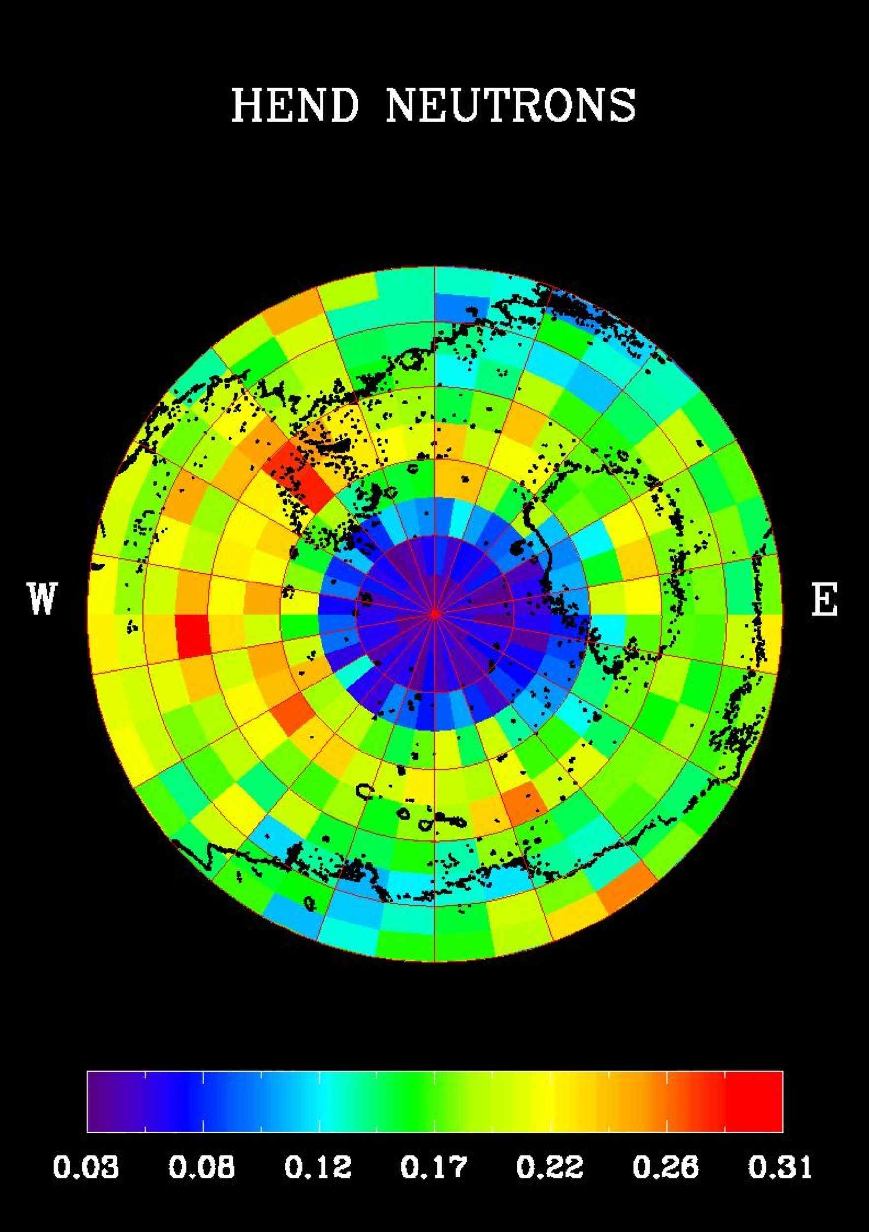 NASA's Mars Odyssey spacecraft produced this high-energy neutron detector map of neutrons in Mars' southern hemisphere. The blue region around the south pole indicates a high content of hydrogen in the upper 2 to 3 meters (7 to 10 feet) of the surface.