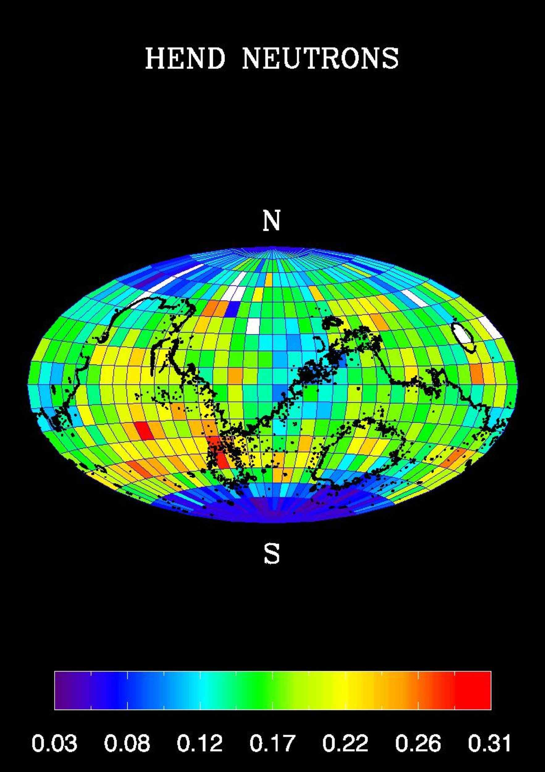 A high content of hydrogen in Mars' southern polar region is apparent in this global map of high-energy neutrons measured by NASA's Mars Odyssey spacecraft.