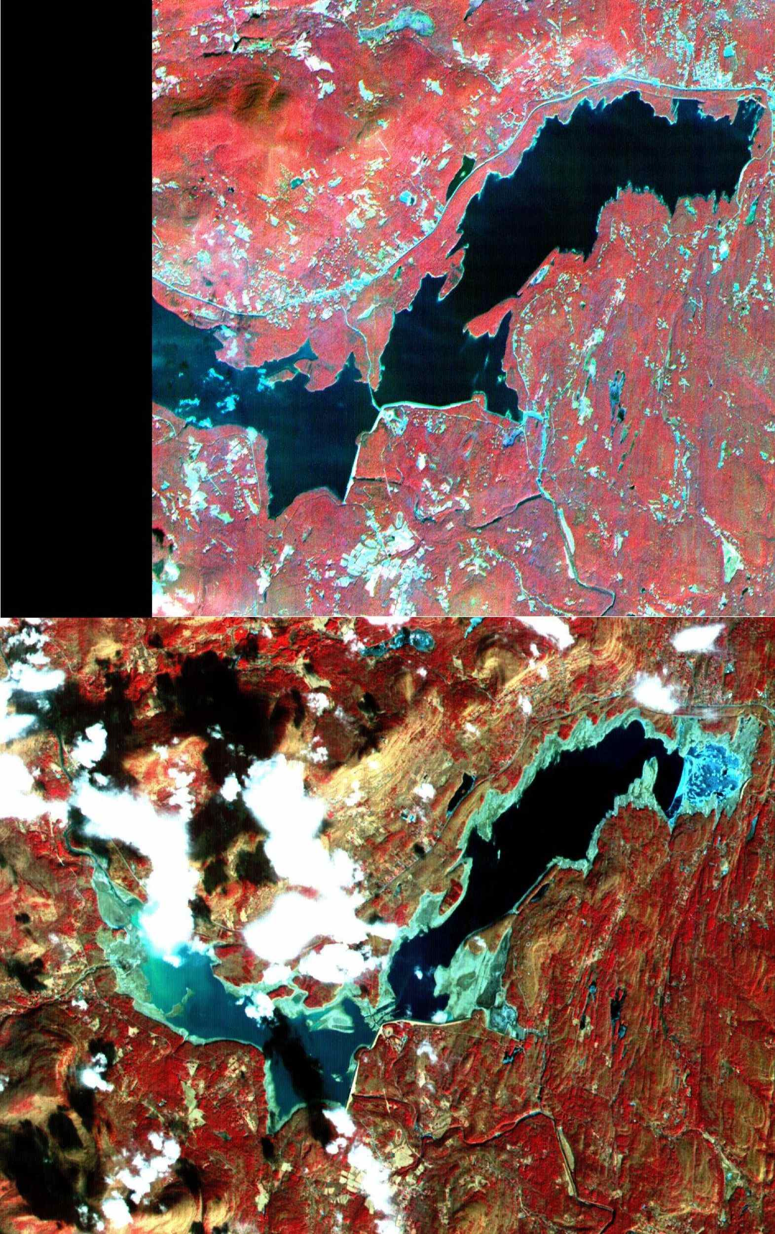 Ashokan Reservoir in New York, is seen in this pair of images acquired by NASA's Terra satellite on September 18, 2000 and February 3, 2002.