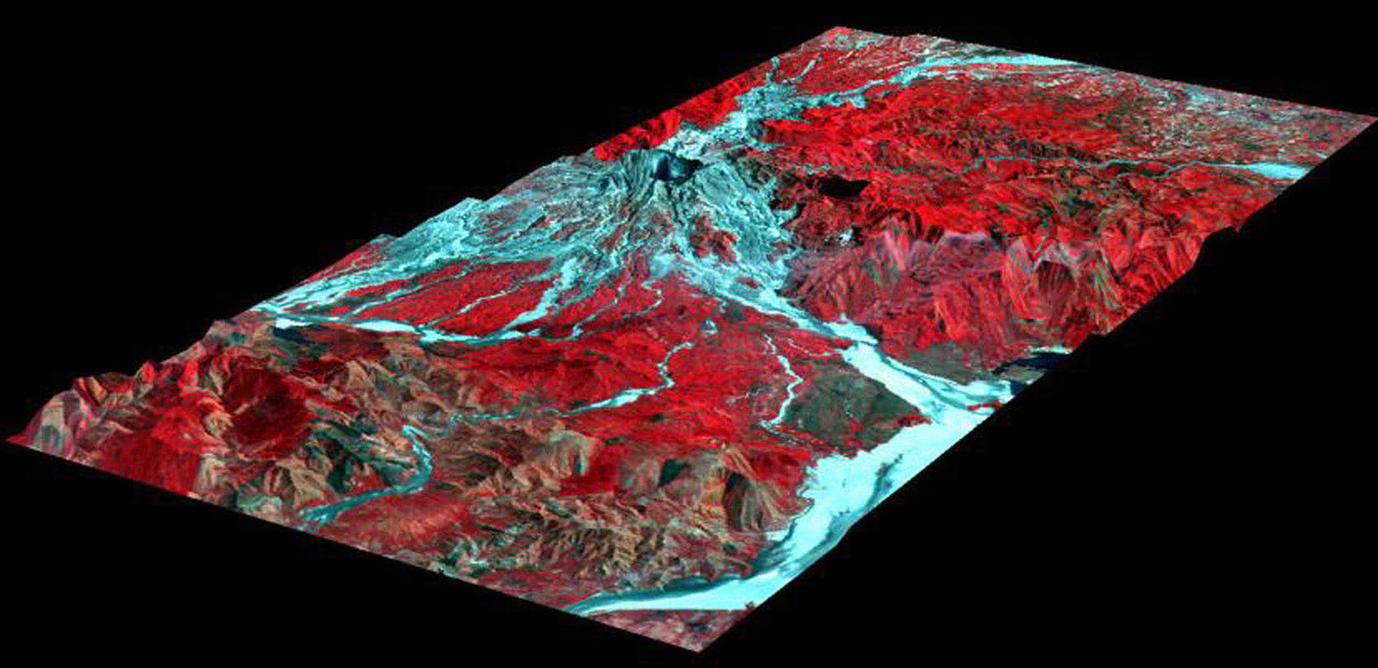 This perspective view, acquired by NASA's Airborne Synthetic Aperture Radar, shows the effects of the June 15, 1991, eruption of Mt. Pinatubo.