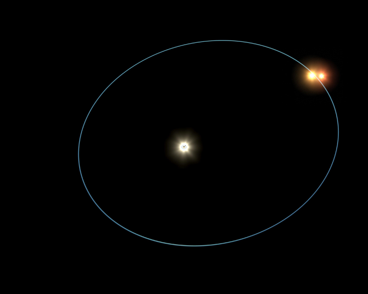 This frame from an artist's animation shows the clockwork-like orbits of a triple-star system called HD 188753, which was discovered to harbor a gas giant, or 'hot Jupiter,' planet.