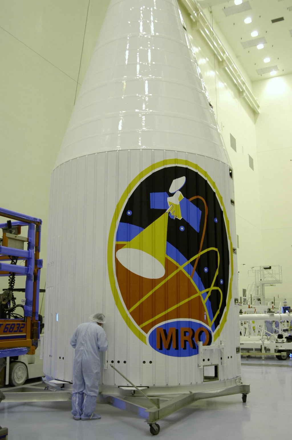 This image features the protective fairing that encapsulated NASA's Mars Reconnaissance Orbiter atop an Atlas V rocket. The lively logo celebrates the intense science mission ahead of the orbiter.