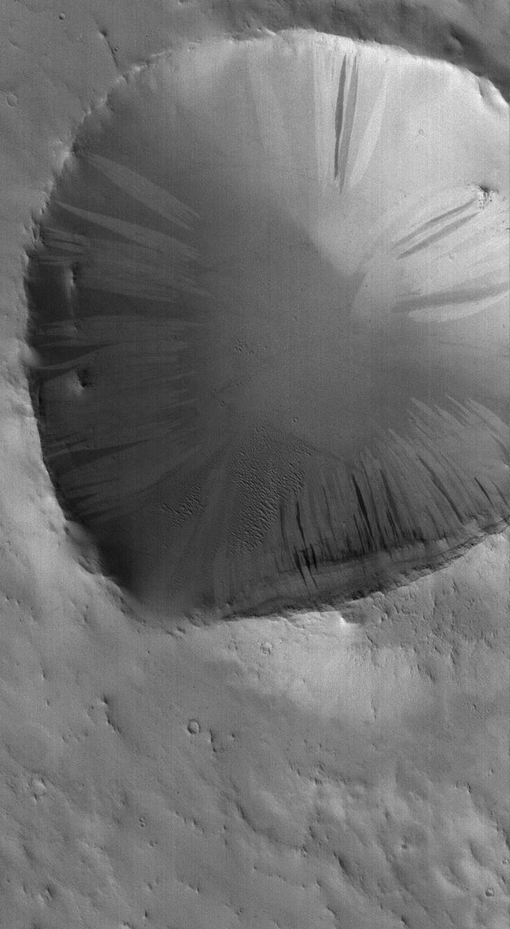 NASA's Mars Global Surveyor shows a dust-mantled crater in central Arabia Terra on Mars. Light and dark slope streaks have formed on the crater walls, as dry dust has slid down the slopes.