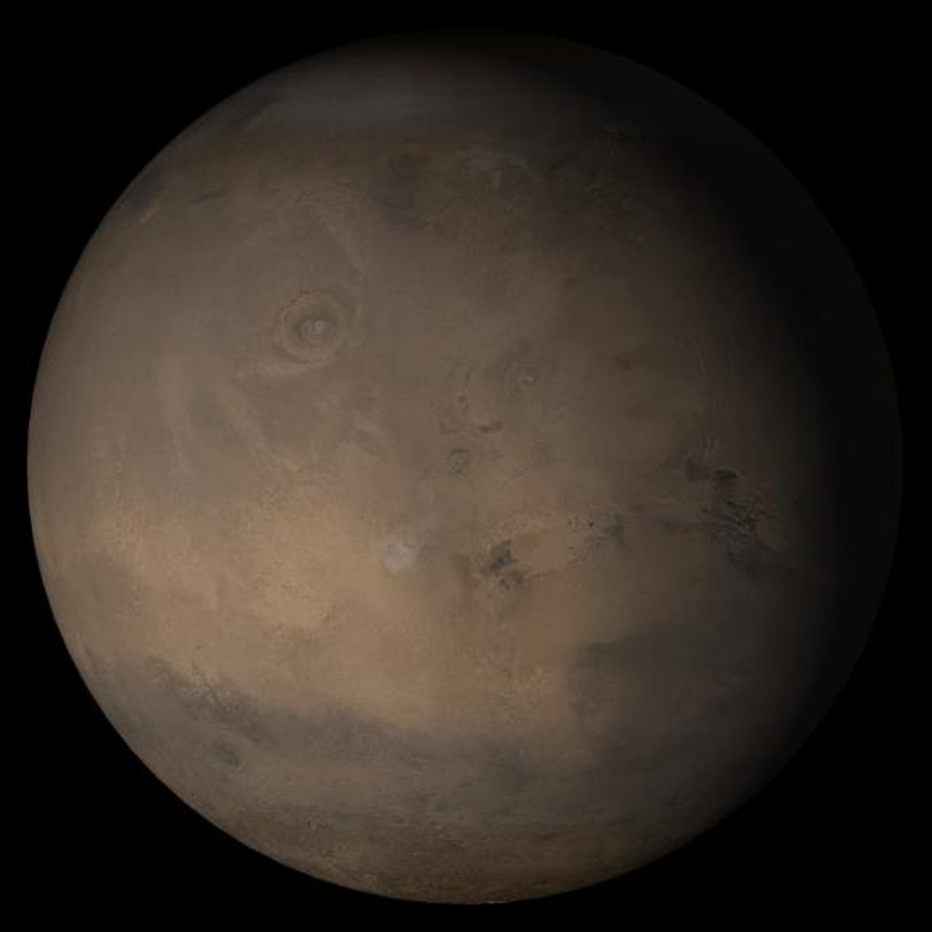 NASA's Mars Global Surveyor shows the Tharsis face of Mars in mid-December 2005.
