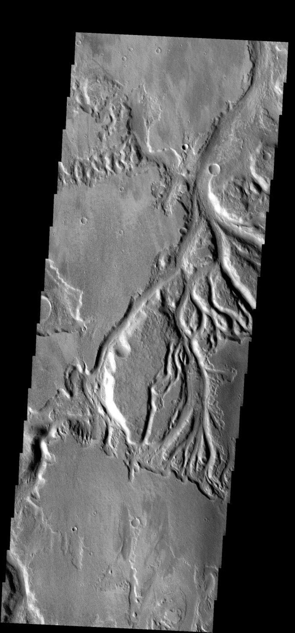 These small channels join to become Sabis Vallis on Mars as seen by NASA's 2001 Mars Odyssey spacecraft.